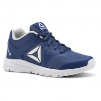 Reebok Rush Runner Running Shoes Girls Bunker Blue/Steel/White (775YCJPE)