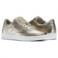 Reebok Club C 85 Shoes Womens Gold/Pearl Met-Grey Gold/White (777JXGTZ)