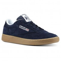 Reebok Club C 85 Shoes Mens Indoor-Collegiate Navy/White/Gum (786IYWGA)