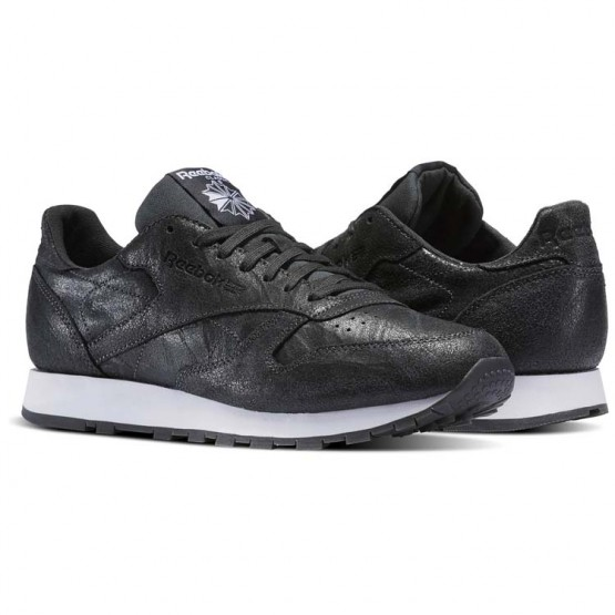 Reebok Classic Leather Shoes Mens Black/Gravel/White (793IYGCN)