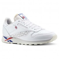 Reebok Classic Leather Shoes Mens Ativ-Wht/Darkroyal/Excellentred/Snowgry/Chalk (797ACLRF)