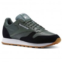 Reebok Classic Leather Shoes Mens Chalk Green/Black/White-Gum (799CLJPQ)