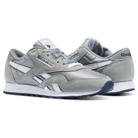 Reebok Classic Nylon Shoes Mens Platinum/Jet Blue (806LMXJS)