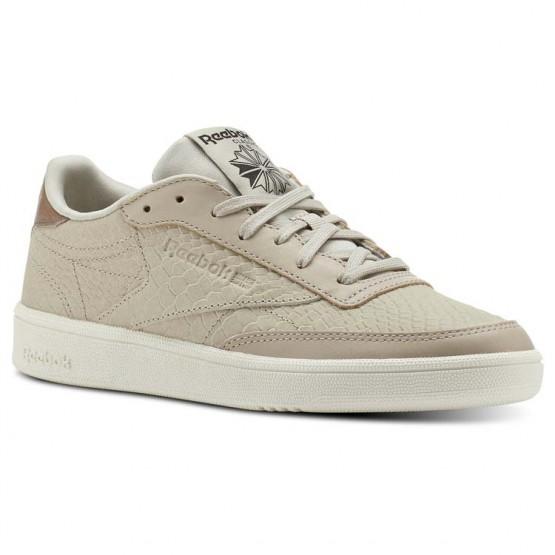 Reebok Club C 85 Shoes Womens Golden Neutrals-Parchment/Coal/White (813DJTEX)