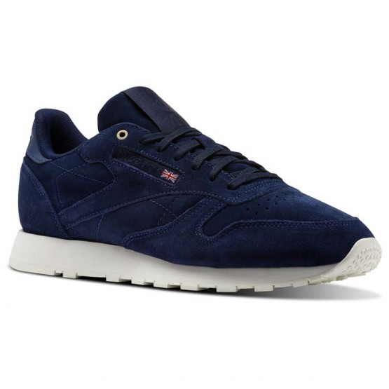 Reebok Classic Leather Shoes Mens Blue Note/Chalk (839MAUBE)
