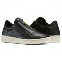Reebok Club C 85 Shoes Womens Black/Sleek Met/Paper White/Coal (849ABZSF)