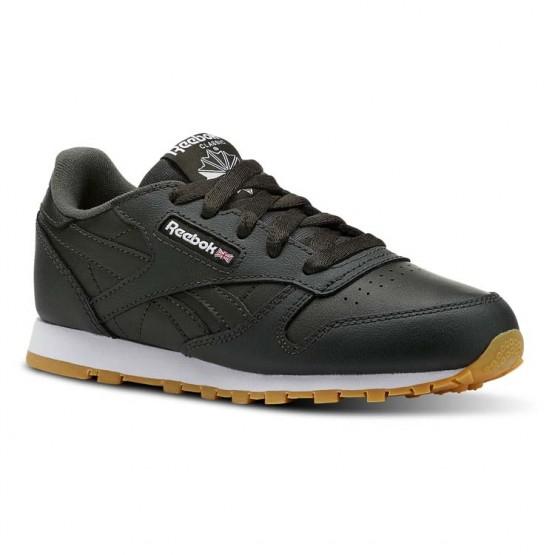 Reebok Classic Leather Shoes Kids Gum-Dark Cypress/White (850XKYAB)