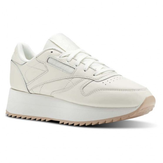 Reebok Classic Leather Shoes Womens Double-Chalk/Bare Beige (861EGWNR)