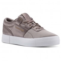 Reebok Workout Lo Shoes Womens Satin-Sandy Taupe/White (867GXOYU)