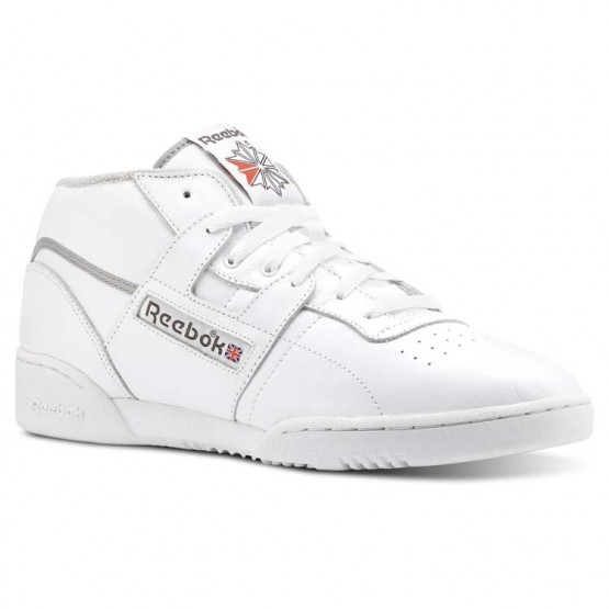 Reebok Workout Clean Shoes Mens Archive-White/Carbon/Grey/Red (884WMAPJ)