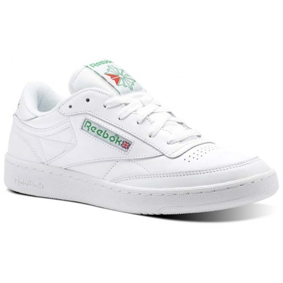 Reebok Club C 85 Shoes Mens White/Glen Green/Excellent Red (886ZSCPX)