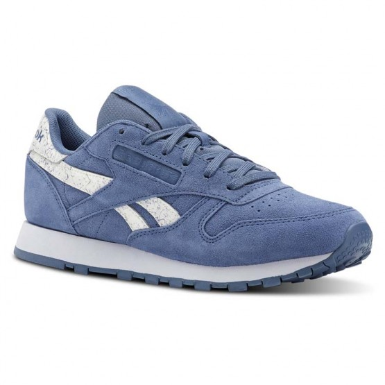 Reebok Classic Leather Shoes Womens Sidestripes-Blue Slate/Whte (894ZWKRO)