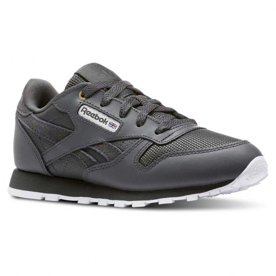 Reebok Classic Leather Shoes Kids Mc-Marble/Stealth/White (906QTWGN)