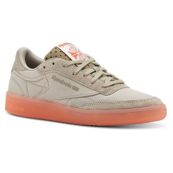 Reebok Club C 85 Shoes Womens Neon Ice-Parchment/Super Neutral/Atomic Red (916PIVBD)