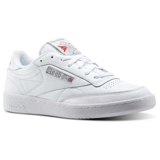 Reebok Club C 85 Shoes Mens White/Carbon/Excellent Red (916WTOKQ)