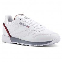 Chaussure Reebok Classic Leather Homme Blanche/Bleu Marine/Rouge (918PUDSQ)