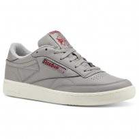 Reebok Club C 85 Shoes Mens Vintage-Mgh Solid Grey/Power Red/Chalk (920TPBGN)