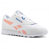 Reebok Classic Nylon Shoes Womens Retro-White/Digital Pink/Instince Blue (921BKNMD)