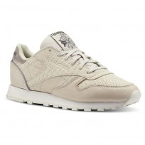 Reebok Classic Leather Shoes Womens Golden Neutrals-Parchment/Coal/Chalk (921CVOZX)