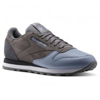 Reebok Classic Leather Shoes Mens Shark/Rain Cloud/Soft Black/White (923QAWCJ)