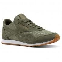 Reebok Classic Nylon Shoes Womens Hunter Green/White/Gum (930HBUCZ)