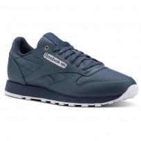 Reebok Classic Leather Shoes Mens Mc-Deep Sea/Mt Fuji/White (933WGKSY)