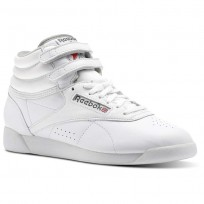 Reebok Freestyle HI Shoes Womens White/Carbon/Red/Grey (935HWGDL)