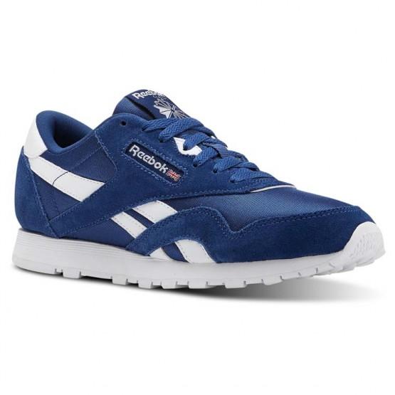 Reebok Classic Nylon Shoes Kids Bunker Blue/White (943TJVON)