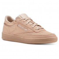 Reebok Club C 85 Shoes Womens Face-Bare Beige/White (946RQJXB)