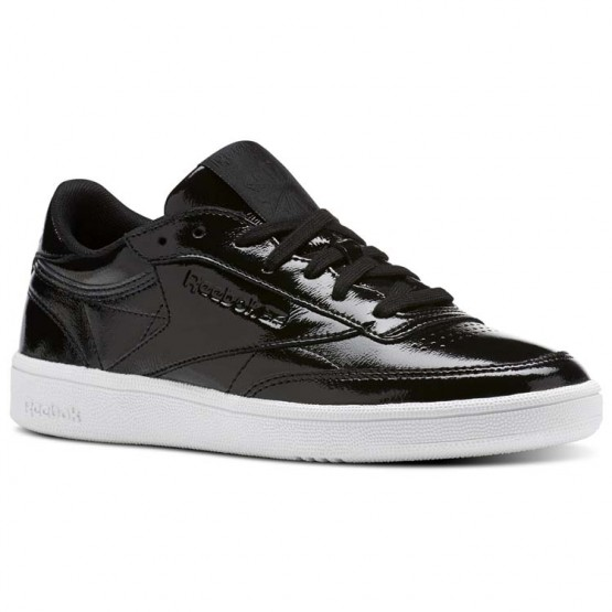 Reebok Club C 85 Shoes Womens Black/White (947LKHZG)