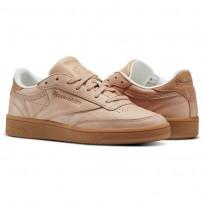 Reebok Club C 85 Shoes Womens Beige/Veg Tan/Chalk/Gum (952QJMNH)