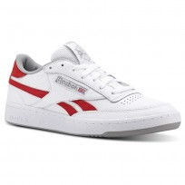 Reebok Revenge Plus Shoes For Men White/Red/Grey (955QXPVS)