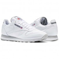 Chaussure Reebok Classic Leather Homme Blanche/Grise Clair (957KOHNA)
