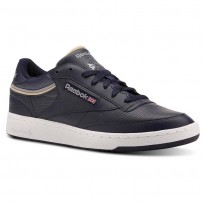 Reebok Club C 85 Shoes Mens Sptlt-Collegiate Navy/Cool Shadow (959JPBOT)