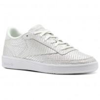 Reebok Club C 85 Shoes Womens Cloud Grey/White/Iridescent (966FKLPI)