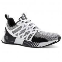 Reebok Fusion Flexweave Cage Running Shoes Mens White/Black/Coal/Skull Grey (970UKBVW)