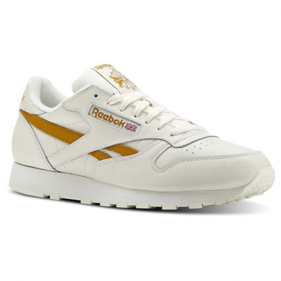 Reebok Classic Leather Shoes Mens Vintage- Chalk/Wild Khaki (975DRAOC)
