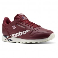 Reebok Classic Leather Shoes Mens Ativ-Urban Maroon/White/Collegiate Navy/Chalk (981FZUEI)
