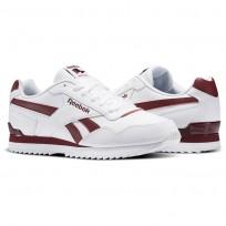 Reebok Royal Glide Shoes Mens White/Collegiate Burgundy (991TLMIZ)