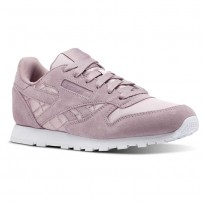 Reebok Classic Leather Shoes Girls Satin-Infused Lilac/White (993SQATF)